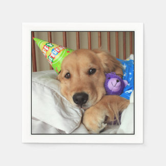 Sleepy Golden Retriever in Pajamas Birthday Napkin
