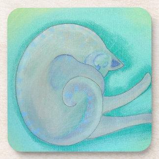 Sleepy Gray Cat. Drink Coaster