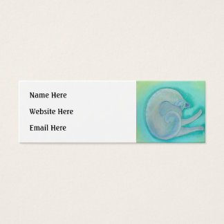 Sleepy Gray Cat. Mini Business Card