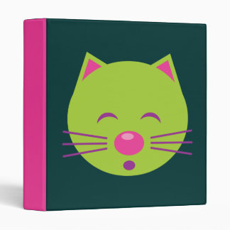 Sleepy Green Cat 3 Ring Binder
