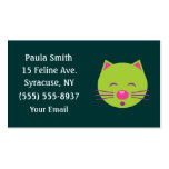 Sleepy Green Cat Business Cards Standard Business Cards