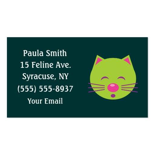 Sleepy Green Cat Business Cards