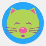 Sleepy Green Cat Classic Round Sticker