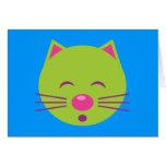 Sleepy Green Cat Greeting Card