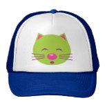 Sleepy Green Cat Mesh Hats