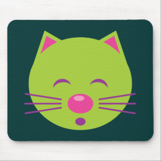 Sleepy Green Cat Mouse Pad
