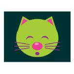 Sleepy Green Cat Post Card