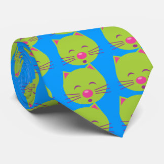 Sleepy Green Cat Tie