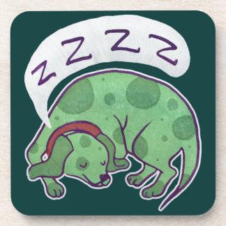 Sleepy Green Puppy Drink Coaster