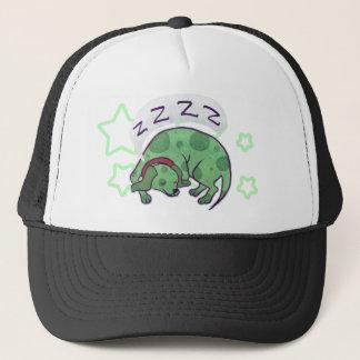 Sleepy Green Puppy Trucker Hat