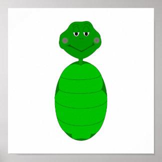 Sleepy Green Turtle Poster