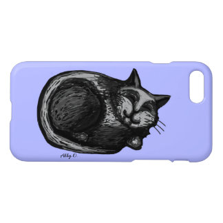 Sleepy Grey Cat Periwinkle iPhone 7 Case