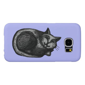 Sleepy Grey Cat Periwinkle Samsung Galaxy S6 Case
