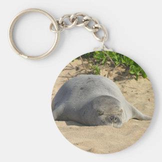 Sleepy Hawaiian Monk Seal Keychain