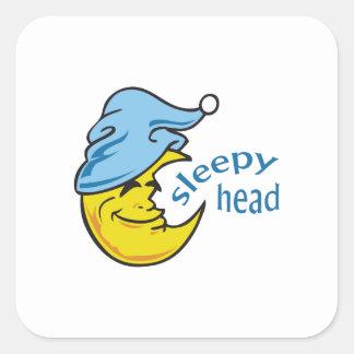SLEEPY HEAD SQUARE STICKERS