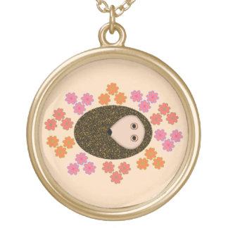 Sleepy Hedgehog and Flowera Necklace