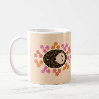 Sleepy Hedgehog and Flowers Mug