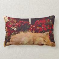 Sleepy Holiday Pembroke Corgi Throw Pillow
