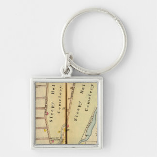 Sleepy Hollow, New York Silver-Colored Square Keychain