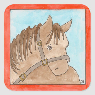 Sleepy horse square sticker