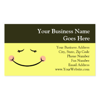 Sleepy Kawaii Happy Face Double-Sided Standard Business Cards (Pack Of 100)