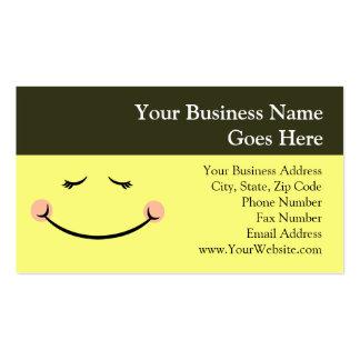 Sleepy Kawaii Happy Face Business Cards