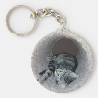 Sleepy Kitty Cat by Shirley Taylor Keychain