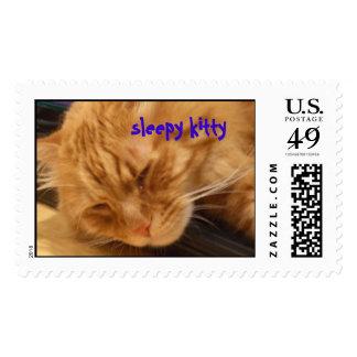 sleepy kitty postage stamps