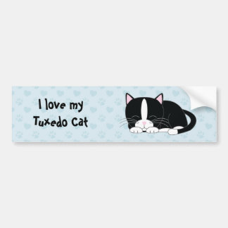 Sleepy Kitty {Tuxedo} Bumper Sticker