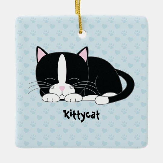 Sleepy Kitty {Tuxedo Cat} Custom Ornaments
