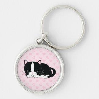 Sleepy Kitty {Tuxedo} Keychains