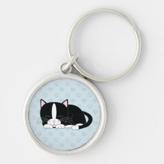 Sleepy Kitty {Tuxedo} Keychain