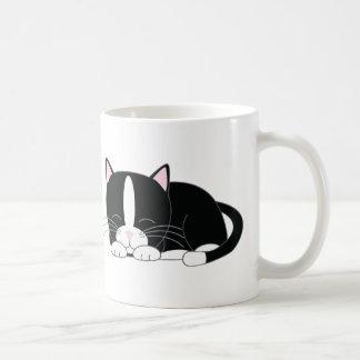 Sleepy Kitty {Tuxedo} Coffee Mugs