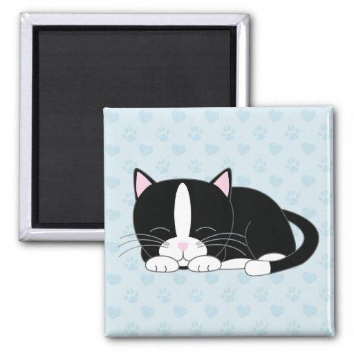 Sleepy Kitty {Tuxedo} Refrigerator Magnets
