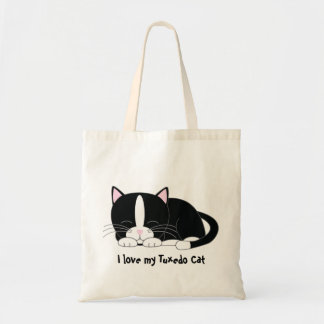 Sleepy Kitty {Tuxedo} Tote Bag