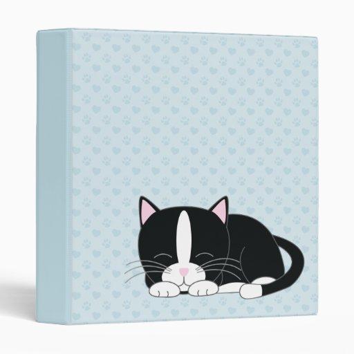 Sleepy Kitty {Tuxedo} Vinyl Binders