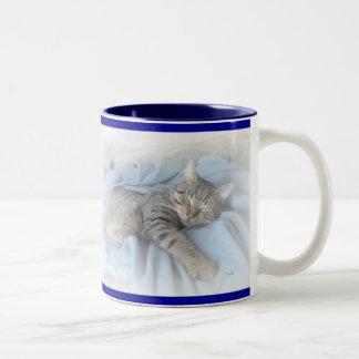 Sleepy Kitty Two-Tone Coffee Mug