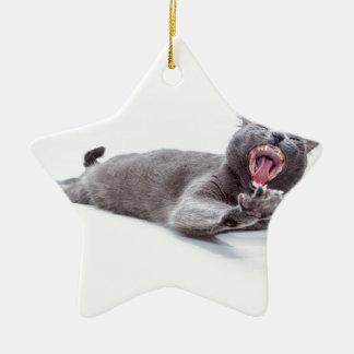 Sleepy Kitty Yawn Ornament