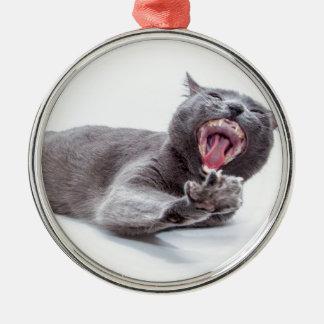 Sleepy Kitty Yawn Christmas Ornaments