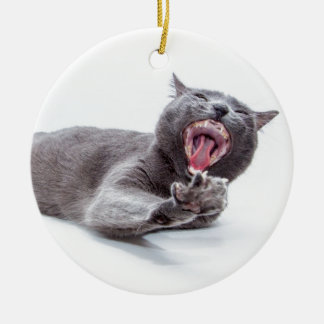 Sleepy Kitty Yawn Christmas Ornament