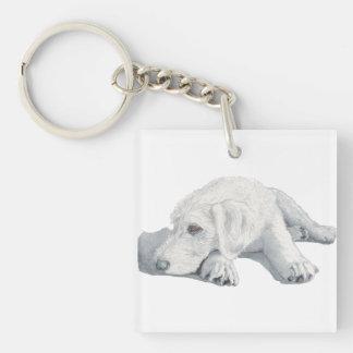 Sleepy Labradoodle Pup Keychain