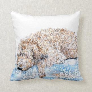 Sleepy Labradoodle Throw Pillow