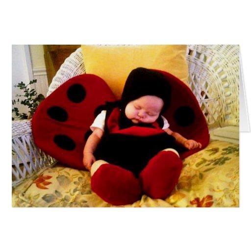 Sleepy ladybug greeting card