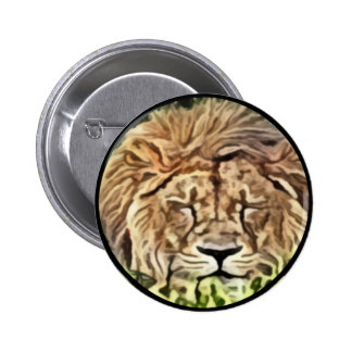 Sleepy lion painting button