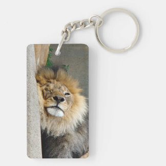 Sleepy lion sticking out the tongue Keychain
