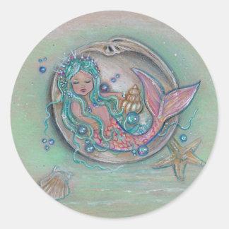 Sleepy little mermaid by Renee Lavoie Classic Round Sticker