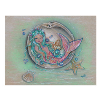 Sleepy little mermaid by Renee Lavoie Postcard