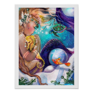 Sleepy Mermaid and Sea Horse Poster
