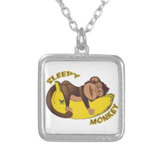 Sleepy Monkey Square Pendant Necklace