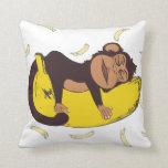 Sleepy Monkey Throw Pillow